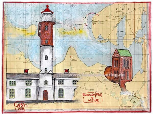 """Zeichnung auf SEEKARTE """"Timmendorf (Poel) - Wismar"""" OLE WEST - UNIKAT"""