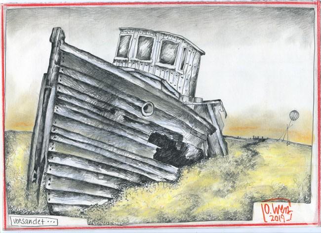 """Zeichnung - """"Versandet"""" von OLE WEST"""