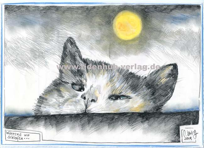 """Zeichnung """"Während wir schlafen..."""" von OLE WEST"""