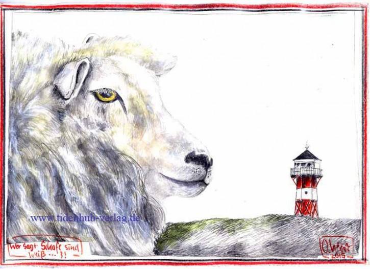 """Zeichnung """"Wer sagt Schafe sind weiß...?"""" OLE WEST - UNIKAT"""