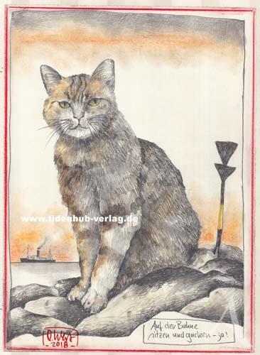 """Zeichnung """"Auf der Buhne sitzen und gucken...(Katze)"""" OLE WEST - UNIKAT"""