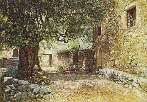 """Farbradierung """"Gehöft mit Olivenbaum"""", Günther Hermann"""
