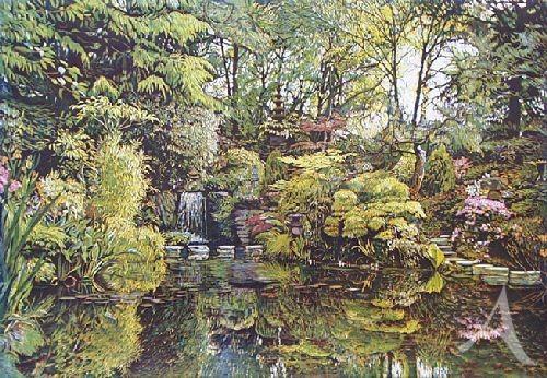 """Farbradierung """"Japanischer Garten I - Compton Acres"""", Günther Hermann"""