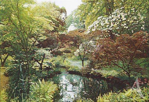 """Farbradierung """"Japanischer Garten II - Exbury"""", Günther Hermann"""