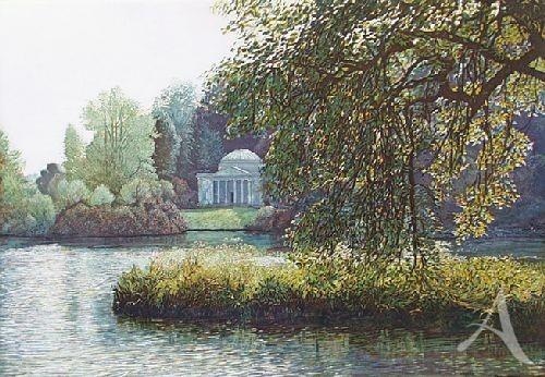 """Farbradierung """"Stourhead, Landschaftsgarten mit Pantheon"""", Günther Hermann"""