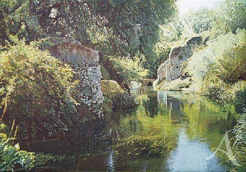 """Farbradierung """"Gärten von Ninfa I"""", Günther Hermann"""