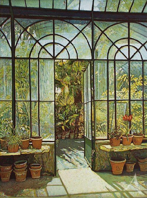 "Farbradierung ""Gewächshaus - Orto Botanico Palermo"", Günther Hermann"