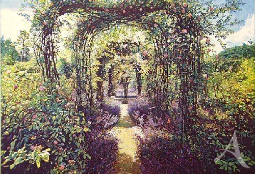 """Farbradierung """"Rosen und Lavendel, Nymans Garden"""", Günther Hermann"""