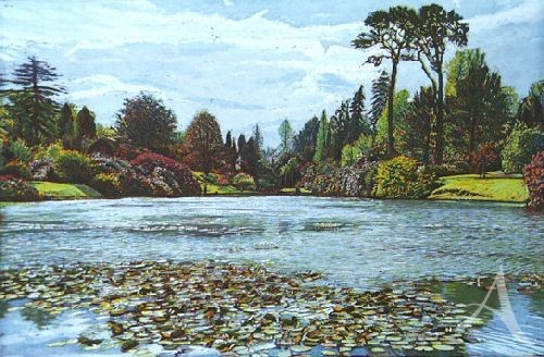 "Farbradierung ""Sheffield Park Garden - Middle Lake"", Günther Hermann"