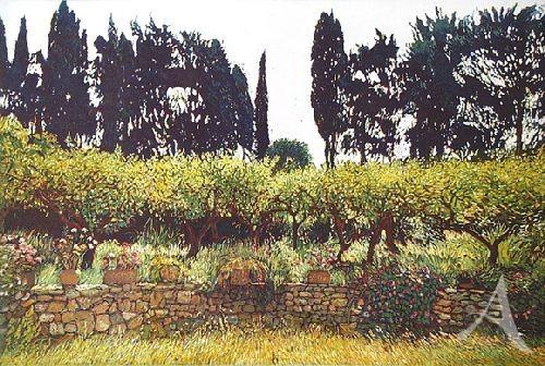 """Farbradierung """"Sizilianischer Garten"""", Günther Hermann"""