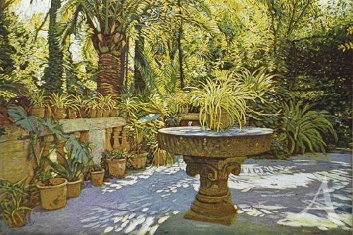 """Farbradierung """"Terrasse Jardin Alfabia"""", Günther Hermann"""