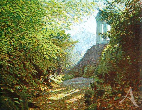 """Farbradierung """"Venus Tempel, Wörlitzer Gartenreich"""", Günther Hermann"""