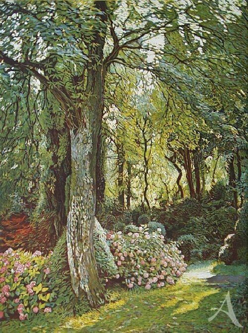 "Farbradierung ""Parco Giardino Sigurta, Waldgarten II"", Günther Hermann"
