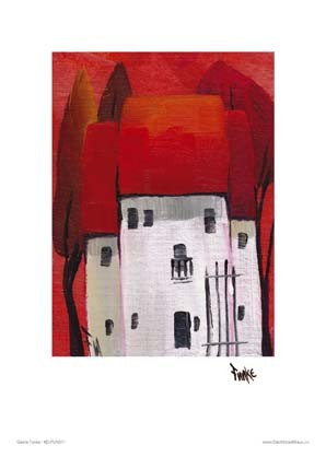 "Kunstdruck ""Häuser, rot"""