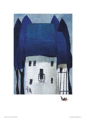 """Kunstdruck """"Häuser, blau"""""""
