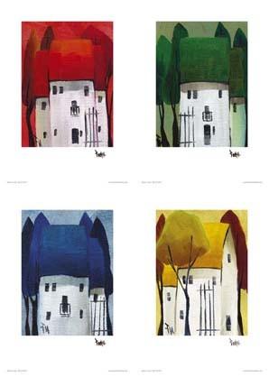 "Kunstdruck - 4er Set ""Häuser"""