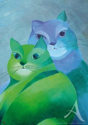"""Kunstdruck """"Zwei Katzen"""""""