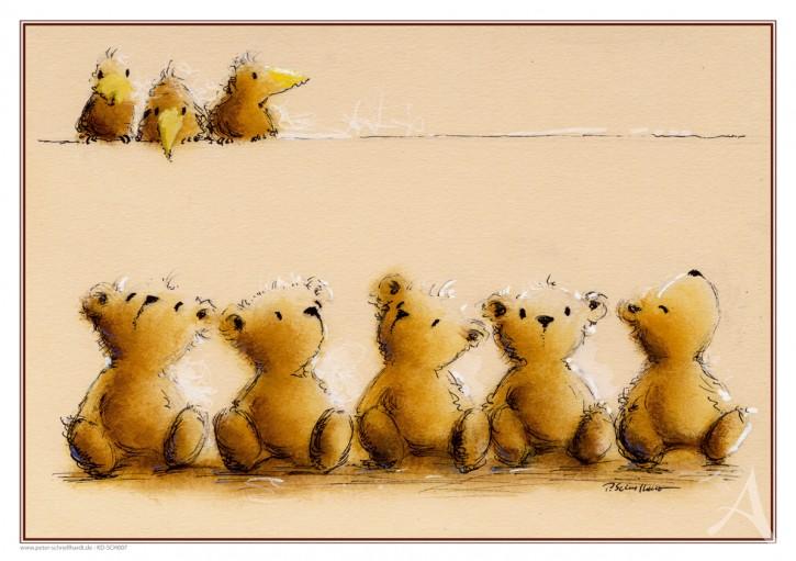 """Kunstdruck """"5 Bären und 3 Vögel"""""""