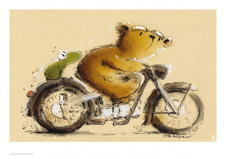 "Kunstdruck ""Ausflug mit dem Motorrad"""