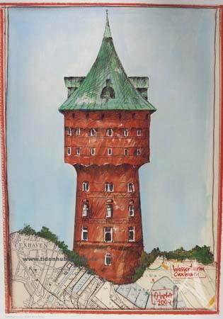 """Kunstdruck """"Wasserturm Cuxhaven"""" von OLE WEST."""