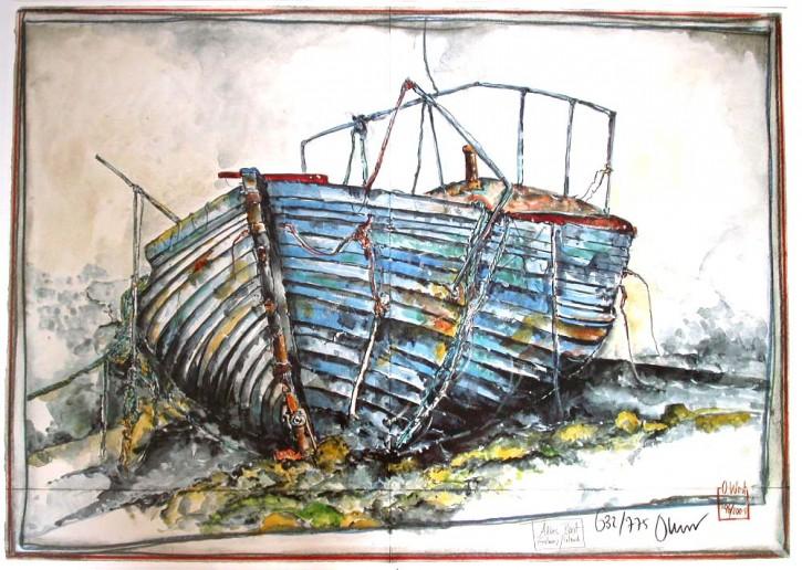 """Kunstdruck """"Altes Boot"""", Limitiert & Handsigniert !"""