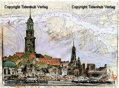 """Kunstdruck """"Landungsbrücken, Hamburg"""""""