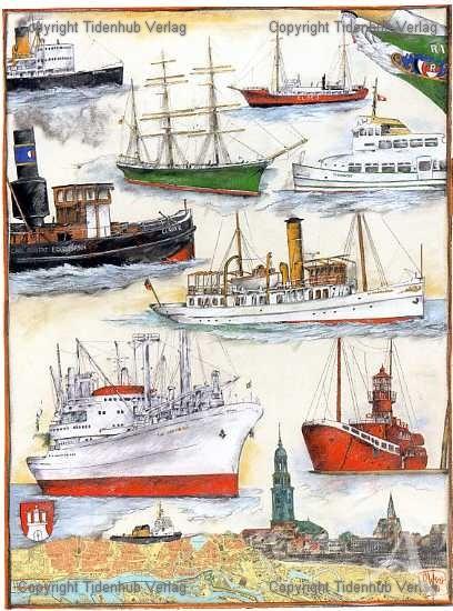 "Kunstdruck ""Hamburg - Schiffe"""