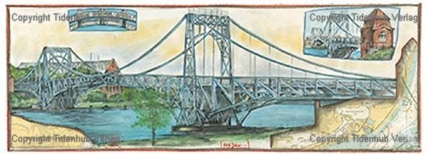 """Kunstdruck """"Kaiser- Wilhelm- Brücke"""" - Ole West - HANDSIGNIERT !"""