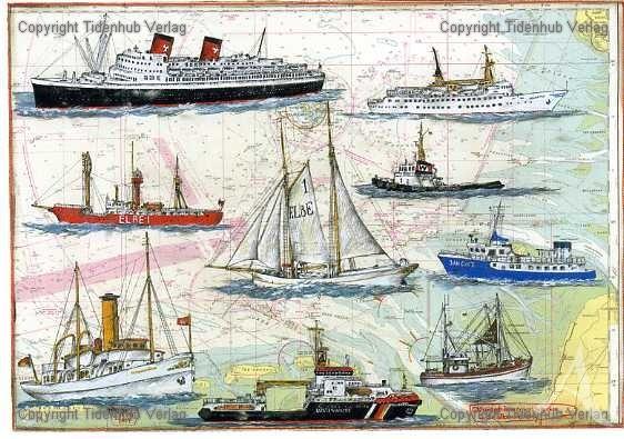 """Kunstdruck """"Historische Schiffe der Elbmündung"""""""