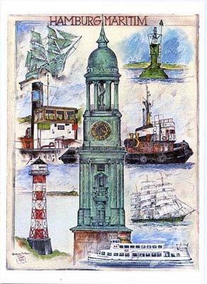 """Kunstdruck """"Hamburg - Maritim"""" - NUR NOCH WENIGE EXEMPLARE !!"""
