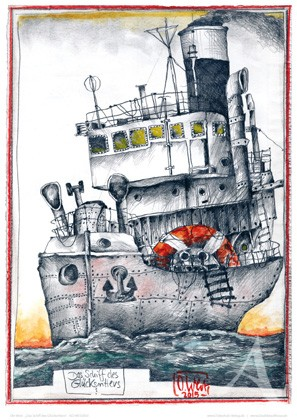 """Kunstdruck """"Das Schiff des Glücksritters"""" - Ole West - HANDSIGNIERT !"""