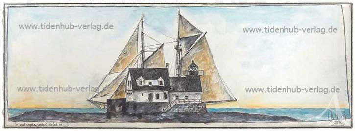 """Gerahmter Kunstdruck """"...und segelten vorbei, einfach so..."""" mit Schattenfuge"""