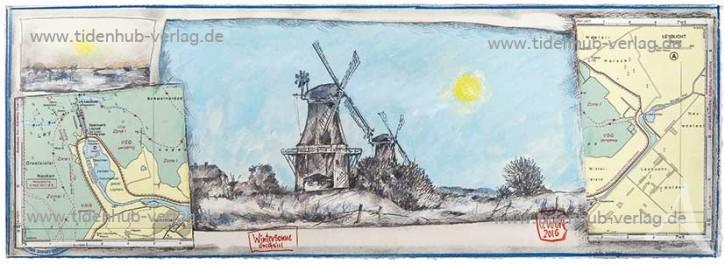 """Gerahmter Kunstdruck """"WinterSonne Greetsiel"""" mit Schattenfuge"""