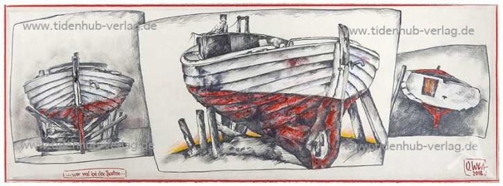 """Kunstdruck """"...war mal bei den Booten..."""" von OLE WEST."""