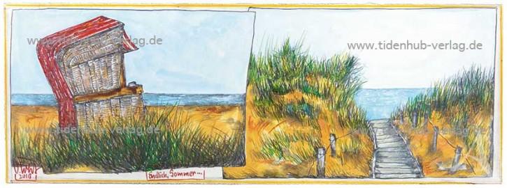 """Gerahmter Kunstdruck """"Endlich Sommer"""" mit Schattenfuge"""