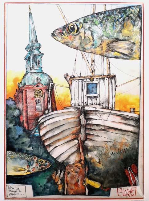 """Kunstdruck """"Wenn die Heringe in Kappeln..."""" - HANDSIGNIERT von Ole West"""