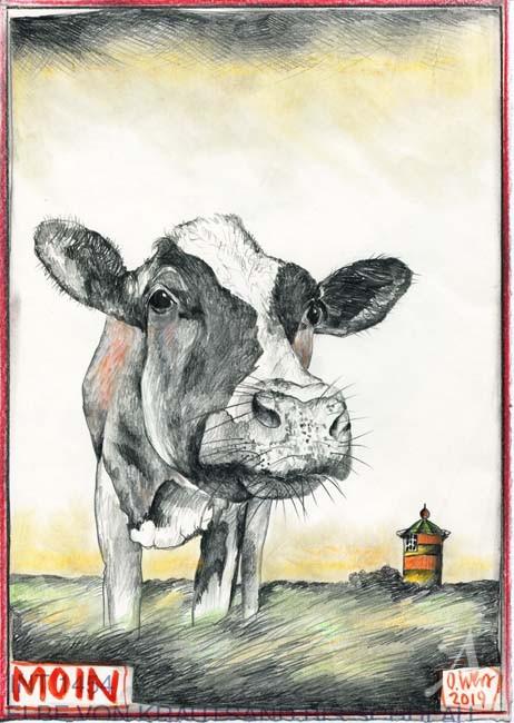 """Kunstdruck """"MOIN"""" / Kuh / Pilsumer Leuchtturm - von OLE WEST"""