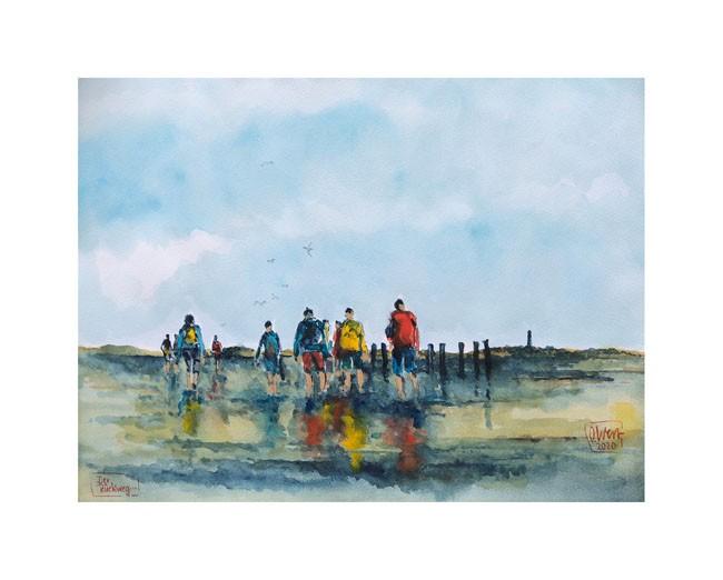 """Kunstdruck auf Naturpapier """"Der Rückweg"""" von Ole West (24 x 30)"""