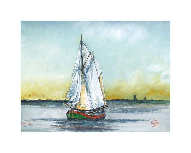 """Kunstdruck auf Naturpapier """"Vom Wasser aus - Greetsiel"""" von Ole West (24 x 30)"""