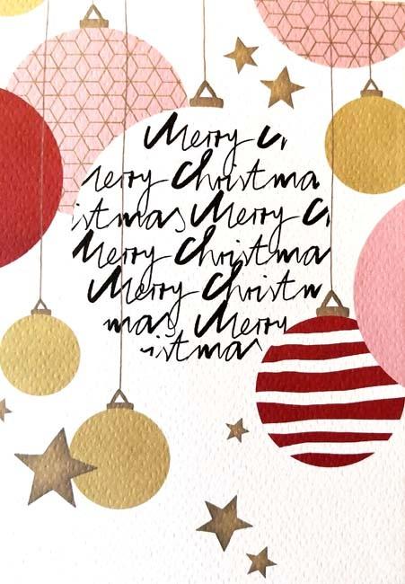 """Doppelkarte """"Merry Christmas"""" (Kugeln, rot)"""