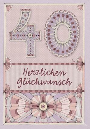 """Doppelkarte """"40 - Herzlichen Glückwunsch"""""""