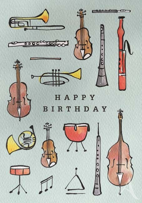 "Doppelkarte ""Happy Birthday"" (Musikinstrumente)"