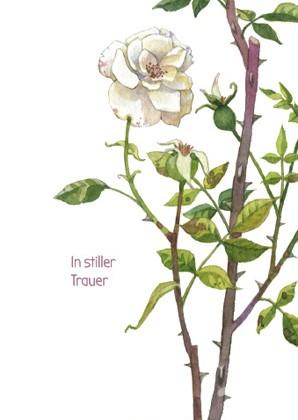 """Trauerkarte """"In stiller Trauer"""" (Rose)"""