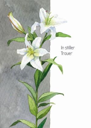 """Trauerkarte """"In stiller Trauer"""" (Lilie)"""
