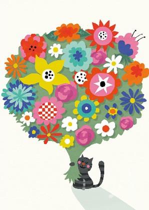 """Doppelkarte """"Katze mit Blumen"""""""