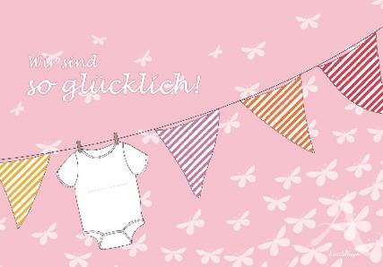 """Doppelkarte """"Zur Geburt (Mädchen)"""""""