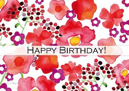 """Doppelkarte """"Happy Birthday! (Blumen)"""""""