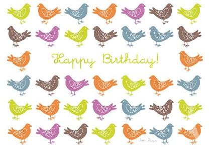 "Doppelkarte ""Happy Birthday! (Vögel)"""