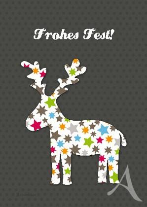 "Doppelkarte ""Frohes Fest! (Elch)"""