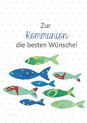 """Doppelkarte """"Zur Kommunion die besten Wünsche!"""""""